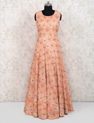 Cape style peach color georgette party gown