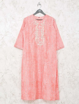 Casual get together peach stripe cotton kurti