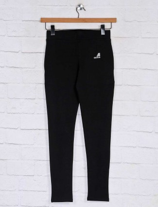 Casual solid black track pant