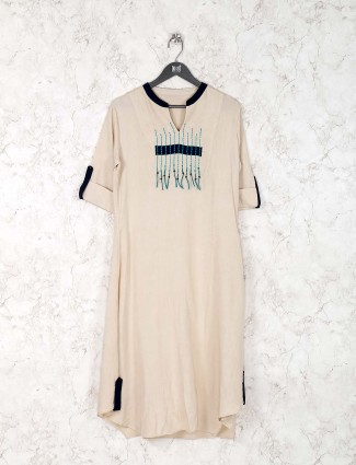 Casual wear beige color cotton fabric kurti