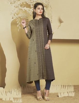 Casual wear cotton silk brown and beige color kurti