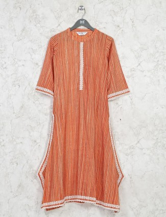 Casual wear orange cotton kurti
