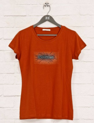 Casual wear printed rust orange top