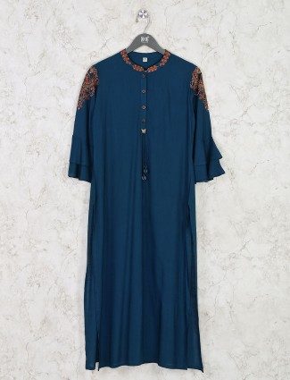 Casual wear rama blue kurti in cotton