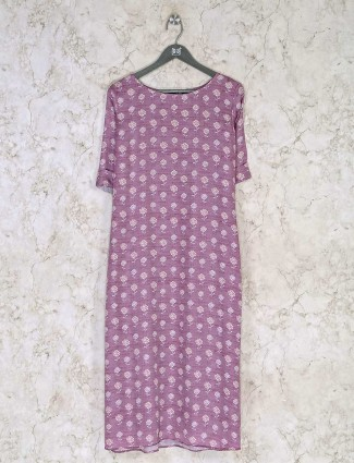 Casual wear violet printed kurti in cotton