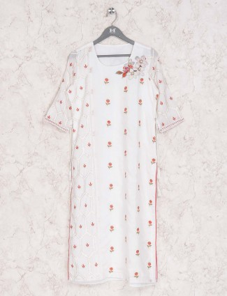 Casual wear white cotton kurti