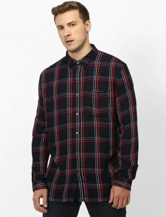 Celio black checks patch pocket shirt