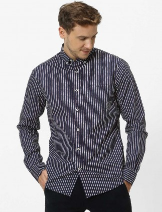 Celio casual wear navy stripe shirt
