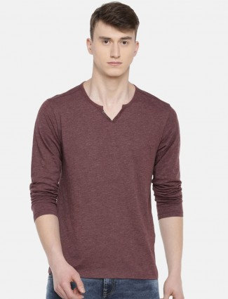 Celio maroon cotton casual wear t-shirt