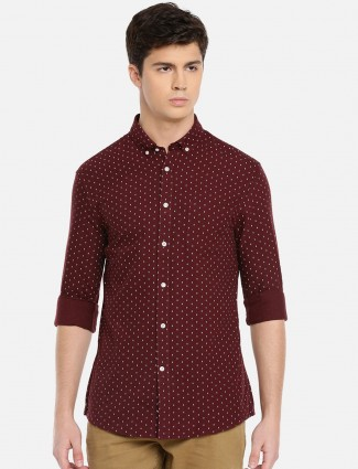 Celio maroon printed cotton shirt