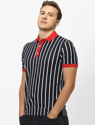 Celio navy stripe casual wear t-shirt