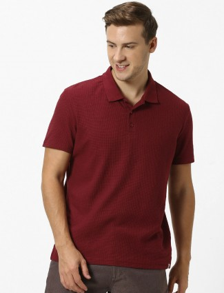 Celio solid wine maroon polo t-shirt