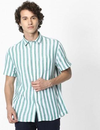 Celio stripe green and white linen shirt