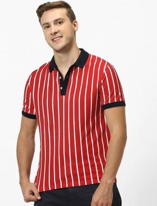Celio stripe orange cotton polo t-shirt