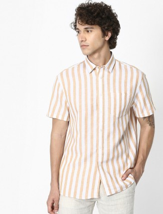 Celio white beige half sleeves stripe shirt