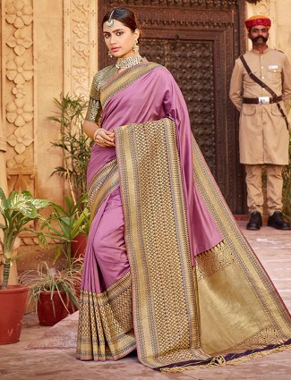 Charming violet banarasi silk saree for reception