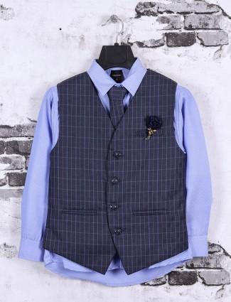 Checks blue color waistcoat set