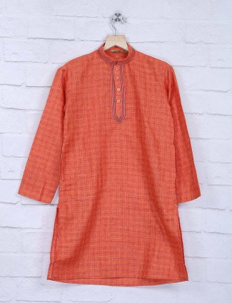 Checks pattern cotton orange kurta suit