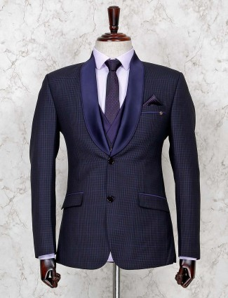 Checks pattern navy hue terry rayon coat suit