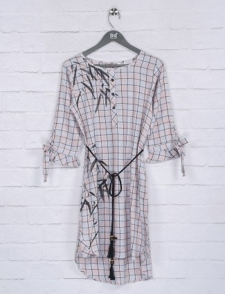Checks pattern off white hue cotton top