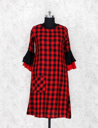 Checks pattern red color kurti