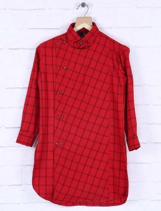 Checks pattern red cotton fabric kurta