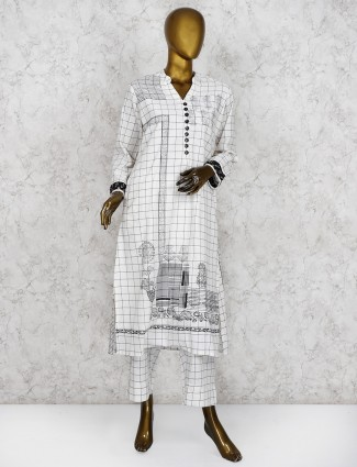 Checks pattern white cotton pant salwar suit