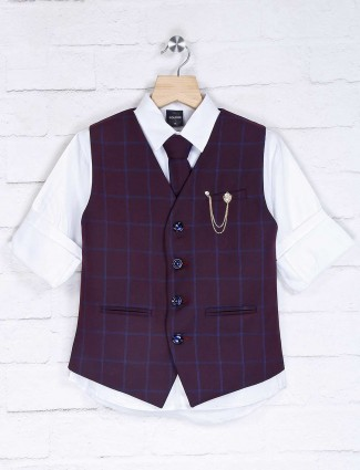 Checks purple and white waistcoat set