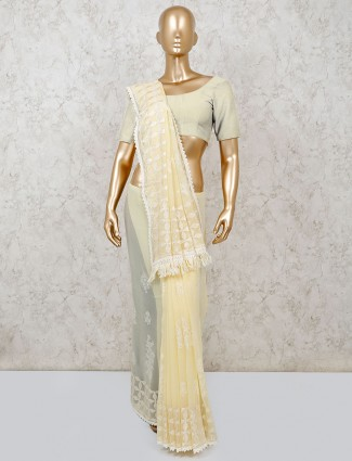 Chiffon saree in yellow color