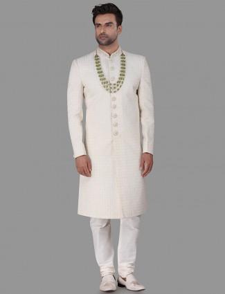 Chikan pista green silk sherwani for wedding