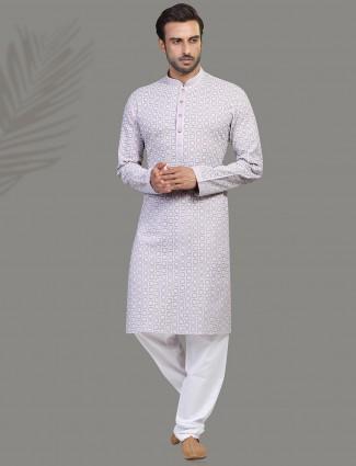 Chikan thread cotton kurta suit in violet