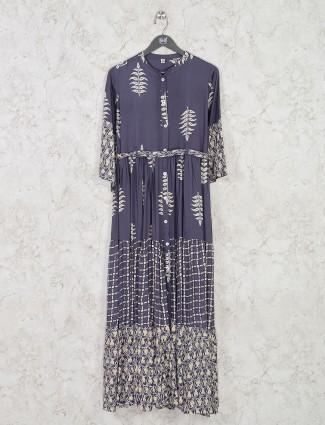 Chinese neck grey cotton printed kurti