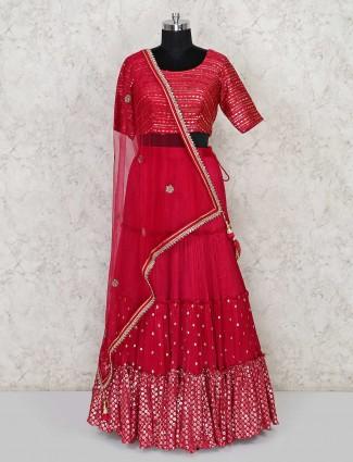 Choli suit in georgette mageta color