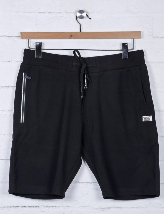 Chopstick black solid cotton regular shorts