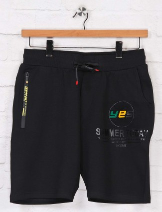 Chopstick black solid shorts in cotton