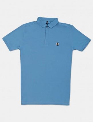 Chopstick blue solid slim fit polo t-shirt