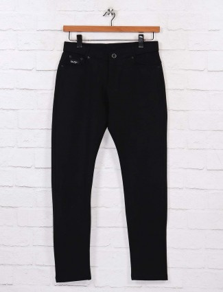 Chopstick casual wear black solid trouser pant