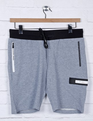 Chopstick grey cotton slim fit shorts