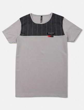 Chopstick grey solid slim fit t-shirt
