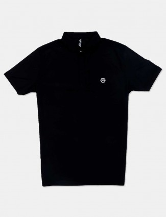 Chopstick solid black casual t-shirt for mens