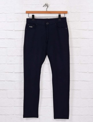 Chopstick solid navy cotton trouser