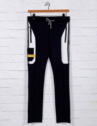Chopstick solid night wear black track pant