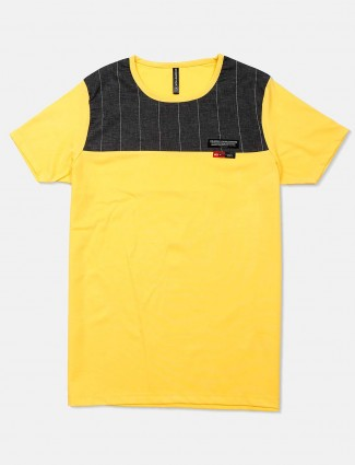 Chopstick yellow solid casual t-shirt