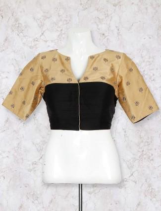 Classic black color raw silk blouse