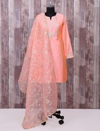 Classic bright peach silk palazzo suit