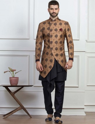 Classic brown hue indo western for party
