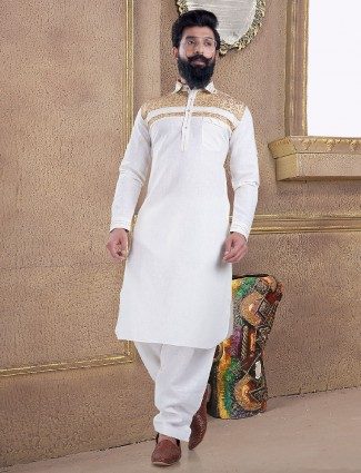 Classic cream cotton silk pathani suit