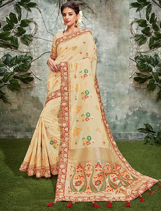Classic cream hue semi silk festive saree