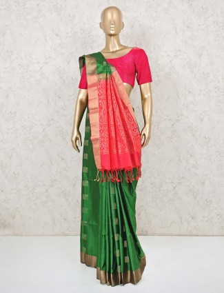 Classic green and red south silk saree