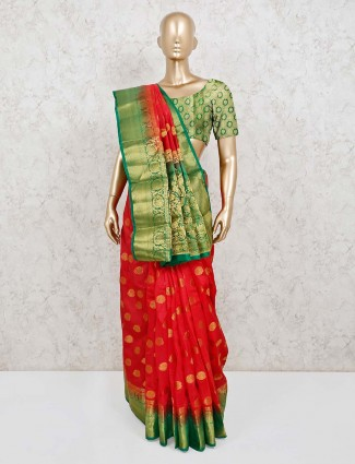 Classic red cotton silk saree